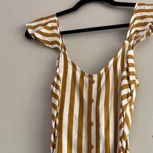 Yellow White Stripe Mini Dress